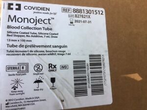 case Of 1 000 Covidien 8881301512 Monoject Blood Collection Tube Exp 07 2021
