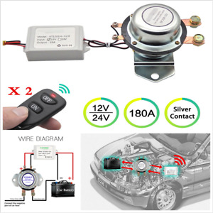 12v Car Universal Battery Disconnect Cut On off 180a Latching Relay 2 Remote