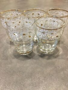 Old Lot Of 5 Victorian Clear Enameled Hand Painted Miniature Tumbler Glasses