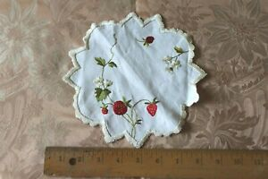 Antique Hand Embroidered Sweet Strawberry Floral Silk Society Work On Linen 7
