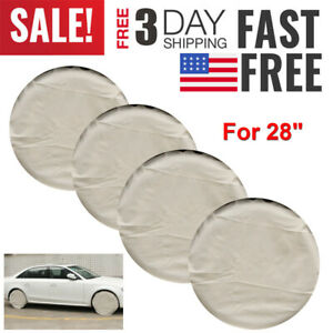 4pcs Canvas Wheel Tire Covers 28 Inch Tire Protector Cover Set For Trailer Car