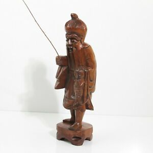 Unique Vintage Asian Hand Carved Boxwood Wood Asian Fisherman Figurine 12 Tall