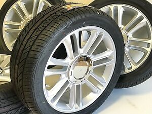 Set Four 22 x9 Platinum Silver Wheels Rims Tires Fits Cadillac Escalade Ext Esv