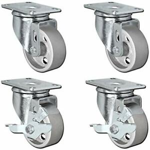 Set Of 4 All Steel Swivel Plate Caster Wheels With Brakes Locking Heavy Duty H