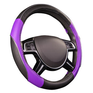 Car Pass Car Steering Wheel Cover Purple Color Antiskid Soft Durable Fit Vehicle