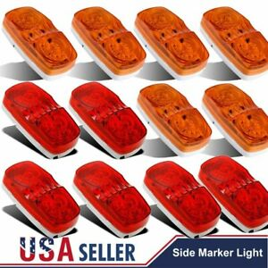 13x Red Amber Trailer Marker Led Light Double Bullseye 10 Diodes Clearance Lamps