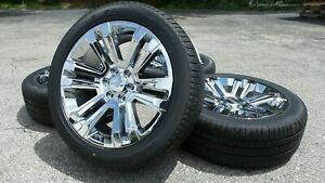 22 Chrome Chevy Silverado Tahoe Suburban Xl Rims Wheels Pirelli Tires Tpms New