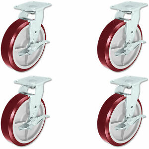 Casterhq Heavy Duty Polyurethane Swivel Casters With Brake 8 X 2 Set Of 4
