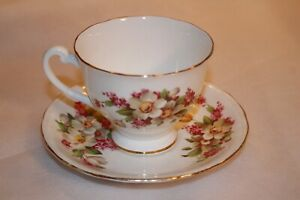 Vintage Clarence Floral Bone China Tea Cup And Saucer