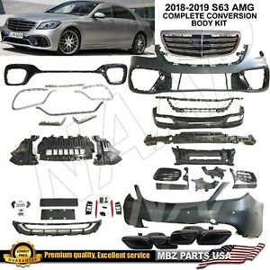 2018 2019 S63 Full Body Kit Bumpers Grille Tips S class S550 Amg Facelift Rear