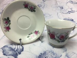 Vintage Tea Cup And Saucer Pink White Roses With Gold Trim Made In China