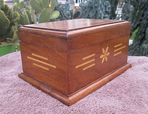 Vintage Antique Inlay Wood Desk Box Money Papers Jewelry Gems Marquetry Coins