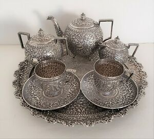 An Indian Colonial Silver Five Piece Tea Set And Tray Kutch India C 1900