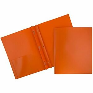 Jam Paper Plastic Eco Two Pocket Folders W Prong Clip Fasteners Orange 96 pack
