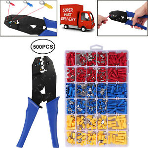 0 5 6mm cable Crimping Plier 500pcs Wire Terminals Crimp Connectors 10 22awg Set