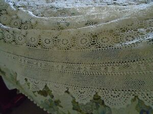 Stunning Antique Hand Crochet Cotton Lace Bedcover Hand Crochet Lace Border