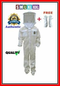 Bee Sting Safety 4 Layer Uv Beekeeping Full Suit Round Veil Xl Gloves