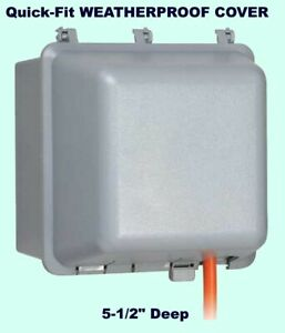 Quick fit Weatherproof Cover Gray Outdoor Electrical Box Duplex Outlet Protector