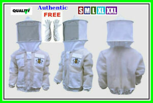 Authentic Protective 4 Layer Beekeeping Jacket Round Veil Xl Gloves