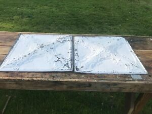 Two Antique 24 X 24 Ceiling Tin Tile Vintage Ornate Cross Pattern