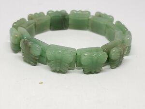 Carved Jade Butterfly Bead Stretch Bracelet
