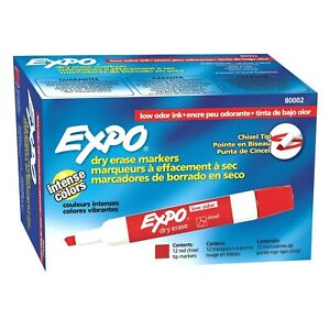 80002 Expo Low Odor Dry Erase Whiteboard Marker Chisel Tip Red Pack Of 24