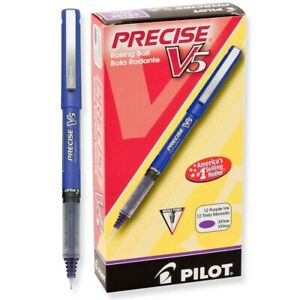 25106 Pilot Precise V5 Premium Rolling Ball Pen Ex Fine 0 5mm Purple 24 Each