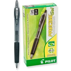 Pilot Precise Gel Retractable Roller Ball Pen Black Ink Fine 0 70 Mm 2 Dozen