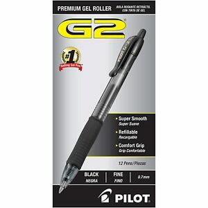 Pilot G2 Retractable Premium Gel Ink Roller Ball Pens Fine Pt 24 Pack Black