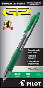 Pilot G2 Retractable Gel Ink Roller Ball Pen Green Ink Fine 0 7mm 2 Dozen