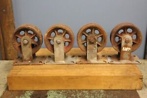 Vintage Hamilton Caster Wheels Cast Iron Industrial Cart Coffee Table Casters