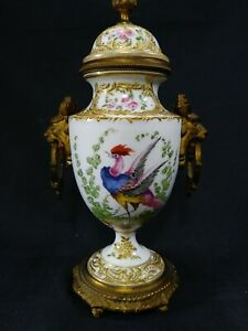 Antique French Sevres Bronze Mounted Porcelain Lidded Urn Vase Birds Of Paradise