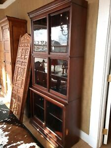 Antique 3 Stack Danner Bookcase With Sliding Glass Doors Mahogany