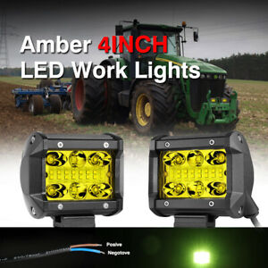 2x 3inch Amber 200w Led Work Lights Spot Flood Square Cube Fog Pods Offroad Atv