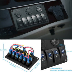 Auto Waterproof 6 Switch Panel Cigarette Lighter Adapter Dual Usb Red Voltmeter