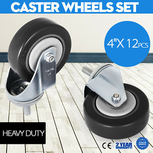12 Pack 4 Inch Stem Casters Wheels Warehouse Carts Durable Brand New