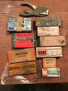 10 Vintage Different Boxes Of Staples W A Hotchkiss Stapling Pliers