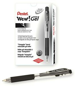 Wow Retractable Gel Pen Black Ink Medium Dozen Sold As Pack Of 3
