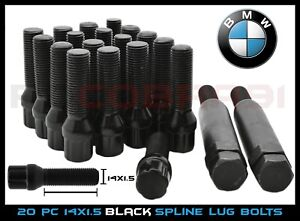 20 Pc Bmw M14x1 5 Black 55mm Extended Spline Lug Bolts Tuner 2 Keys Locks