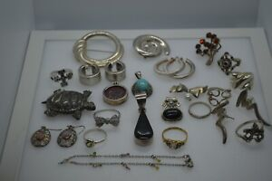 Vintage 925 Sterling Silver Mixed Jewelry Lot Wear Scrap 117 Grams X 23 Pieces
