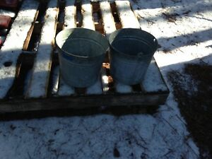 Vtg Galvanized Metal Maple Syrup Sap Bucket Pails Lot Of 2
