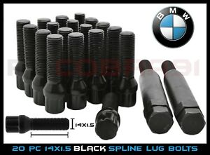 20 Pc Bmw M14x1 5 Black 45mm Extended Spline Lug Bolts Tuner 2 Keys Locks