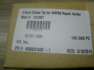 Weller Gun Solder Chisel Tip Wsp80 4 6 Mm Silver Series box Of 100 Pieces New