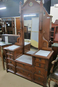 Antique Victorian Dresser Walnut With Marble Tops