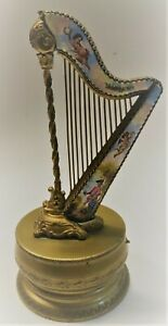 Antique Austrian Gilded Bronze And Enamel Harp Music Box