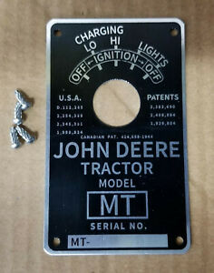 John Deere Mt Serial Number Tag Plate