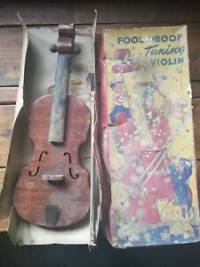 Vintage Old Original Antique Foll Proof Toy Violin With Box Made In Usa 1930 S