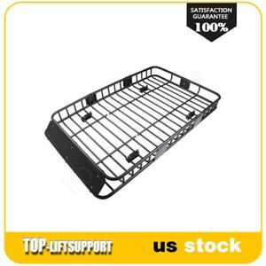 64 Universal Black Roof Rack Extension Luggage Hold Carrier Basket Us Fast Ship