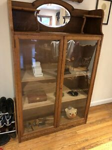Antique Bookcase Oak Cabinet Display Case