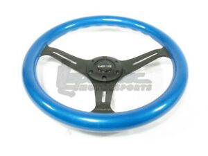 Nrg Classic Wood Grain Steering Wheel 350mm Blue With 3 Spoke Center In Black